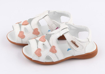 "Freycoo ""Leesa"" whie leather girls sandals"