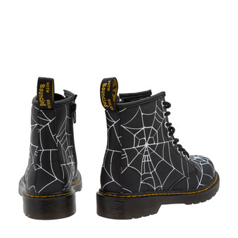 Dr Martens Skull and Web Black Leather Boots