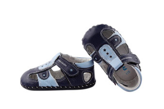 """Pre Order Freycoo """"Andy"""" Navy Leather Soft Sole Sandals"""