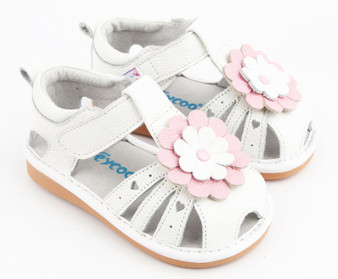 "Pre Order Freycoo ""Monique"" Girls White Leather Sandals"