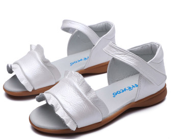 """Freycoo """"Pearl"""" white leather girls sandals"""