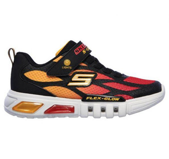 Skechers Flex Glow Dezlo Black Red Light Up Runners