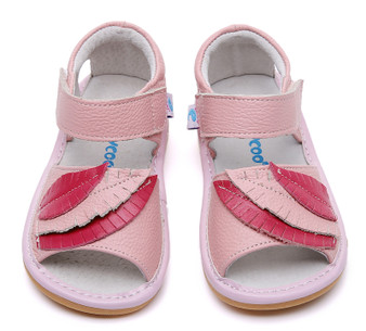 "Freycoo ""Leaf"" Girls Hot Pink Leather Sandals"