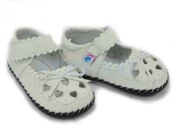 Freycoo Little Heart White Leather Shoes