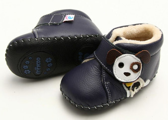 """Freycoo """"Pup"""" Navy Soft Sole Leather Shoes"""
