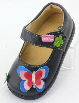 Tipsie Toes Butterfly Black Leather Shoe Aus 3.5 only
