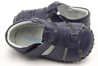"Freycoo ""Frankie"" Navy Leather Soft Sole Shoes"