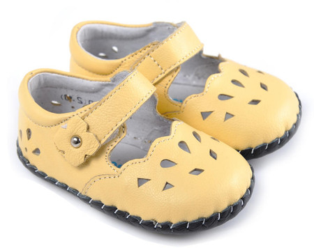 "Caroch ""Lemon Sorbet"" Yellow Leather Soft Sole Shoes"