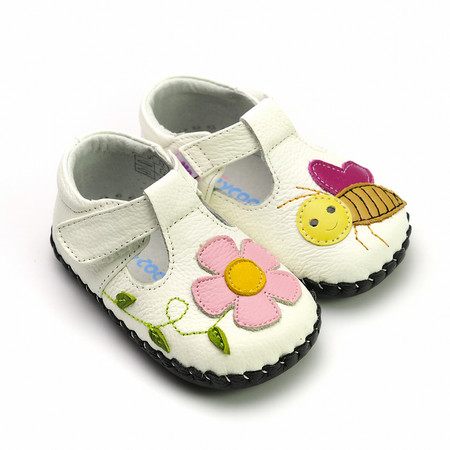 """Freycoo """"Buzzy"""" White Leather Soft Sole Shoes"""
