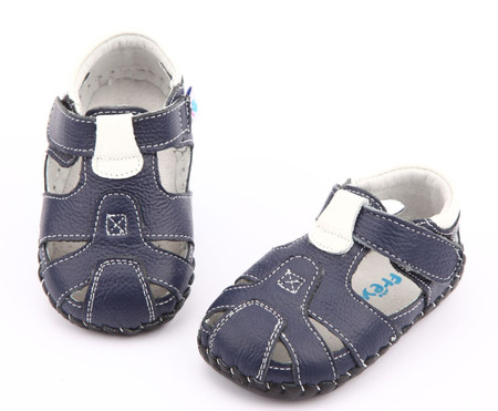 """Freycoo """"Breezy"""" Navy Leather Soft Sole Sandals"""
