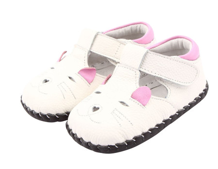 "Freycoo ""Mousie"" White Soft Sole Leather Shoes"