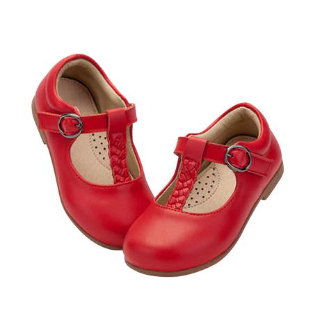 """TS """"Megs"""" Red Leather T-Bar Shoes"""