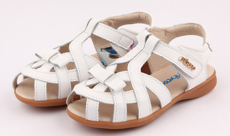 "Freycoo ""Tilly"" white leather girls sandals"