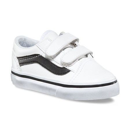 Vans Old Skool V White Leather Toddler Shoes
