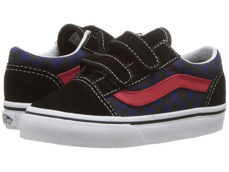 Vans Old Skool V Checkerboard Black/Blue Toddler Shoes