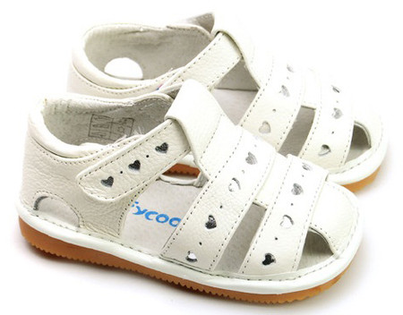 """Freycoo """"Lucy"""" White Leather Girls Sandals"""