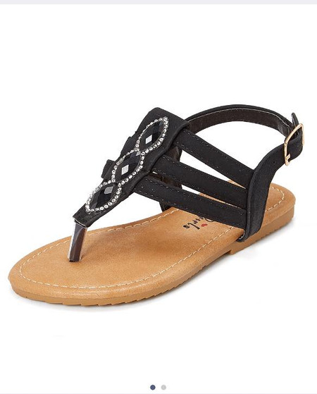 Black Triple Strap Thong Sandal