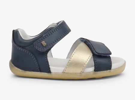 fd1a418e157222 Bobux Step Up Sail Misty Gold   Navy Sandals - Kids Got Sole