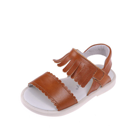 "Caroch ""Luella"" Dark Caramel Leather Sandals"