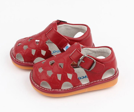 "Freycoo ""Cass"" Girls Red Leather Sandals"
