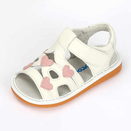 "Freycoo ""Brooke"" Girls White Leather Sandals"