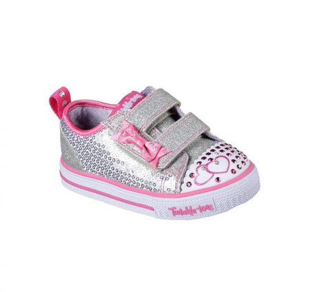 Skechers Twinkle Toes Itsy Bitsy Silver toddler Light Ups
