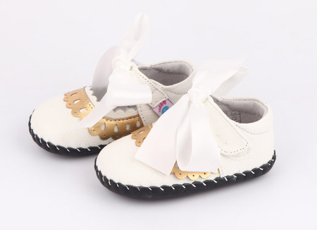 "Pre Order Freycoo ""Sara"" White Soft Sole Leather Shoes"