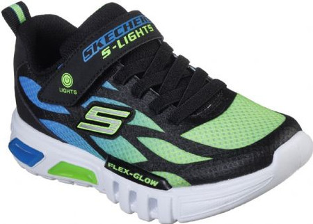 Skechers Flex Glow Blue Lime Light Up Runners