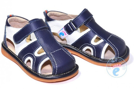 "Freycoo ""Ollie"" Navy Leather Sandals"