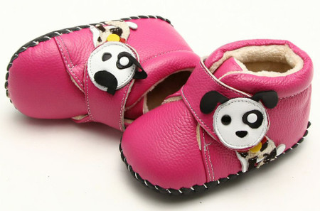 """Freycoo """"Pup"""" Hot Pink Soft Sole Leather Shoes"""