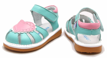 "Freycoo ""Love"" Minty Blue Leather Sandals"