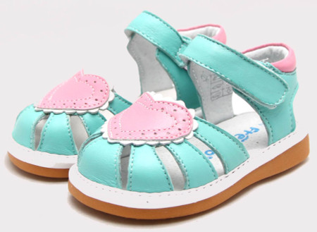 """Freycoo """"Love"""" Minty Blue Leather Sandals"""