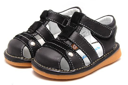 "Freycoo ""Morgan"" Black Leather Sandals"