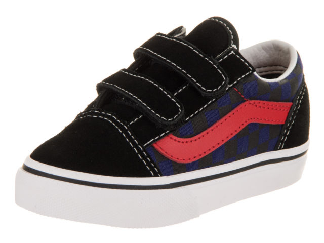 9efe87a1f6 Vans Old Skool V Checkerboard Black Blue Toddler Shoes - Kids Got Sole