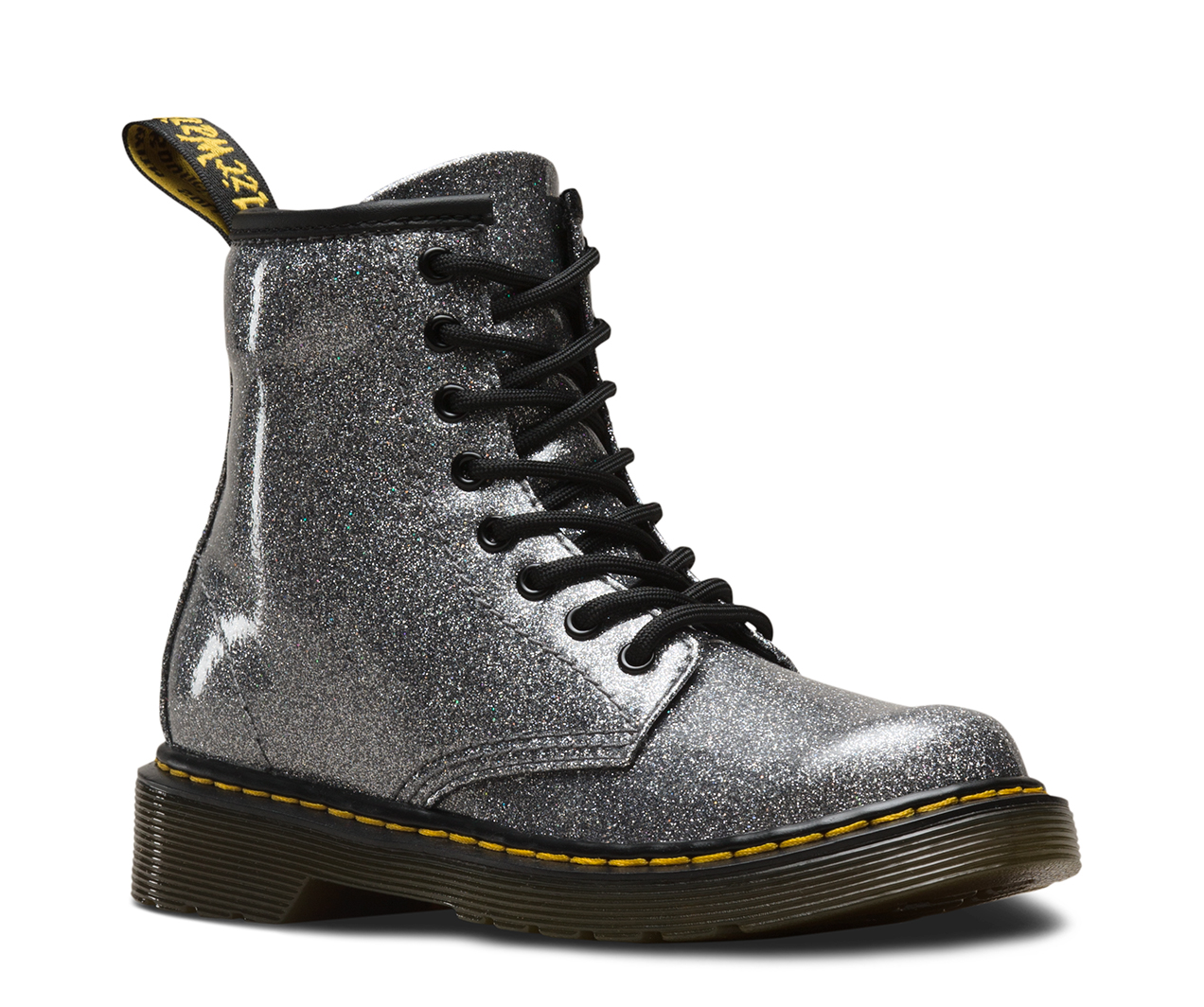 6a8d71e78db35 Dr Martens Delaney 1460 Gun Metal Glitter Boots - Kids Got Sole