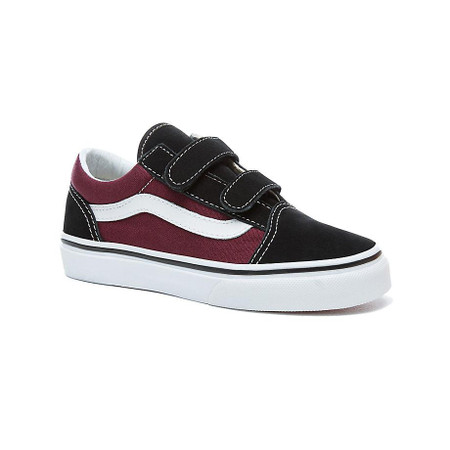 7706f81a8b Vans Old Skool V Black   Burgundy Kids Shoes - Kids Got Sole