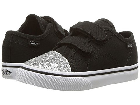 42a94e85c0 Vans Style 23 V Black Glitter Toe Girls Shoes - Kids Got Sole