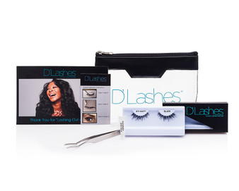 D'Lashes Essentials Kit  The D'Lashes Essentials Kit features everything you need for incredible eyes including two pairs of soft,  durable D'Wispy eyelashes designed to enhance your natural eyes by creating a fuller, longer lash.  Housed in a signature D'Lashes cosmetic clutch the kit includes:   All products are Paraben-free, Fragrance Free.     *            D'Wispy strip eyelashes (Two pairs)  *            2 Hypoallergenic eyelash adhesive  *           1 Small travel-sized  tweezers