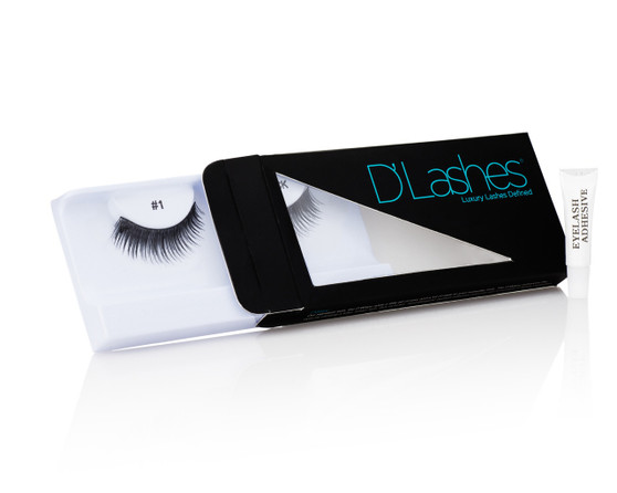 Be bold and rock a standout look with a little help from the D'Luscious lashes.  These dark strip lashes open and enhance your eyes by creating a fuller, thicker lash look.  Box includes: hypoallergenic eyelash adhesive and one set of [reusable] D'Luscious eyelashes.