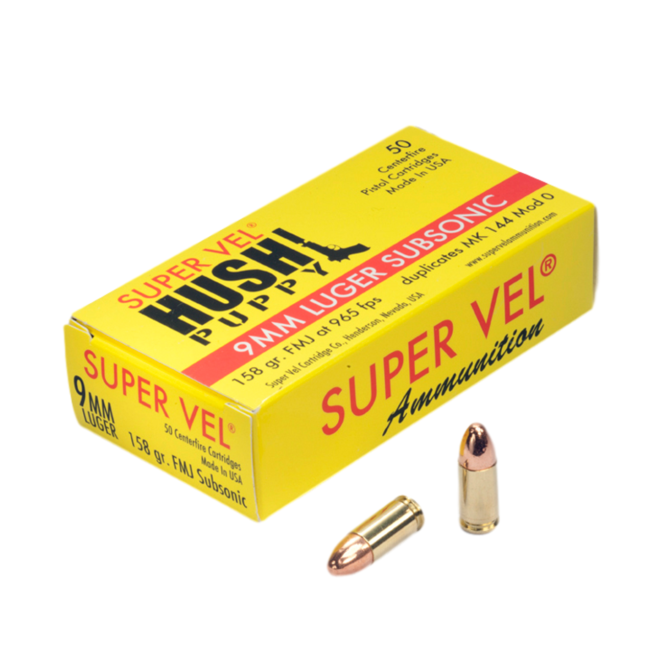 """9mm Luger Sub. 158 gr. FMJ """"Hush Puppy"""" (50-count box)"""