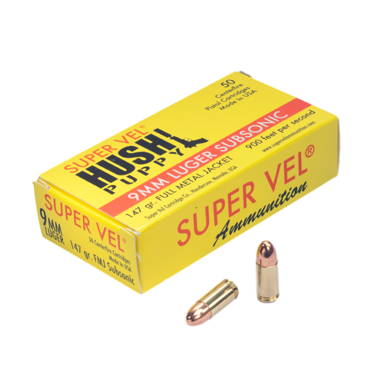 "9mm Luger ""Hush Puppy"" 147 gr. FMJ subsonic (50-count box)"
