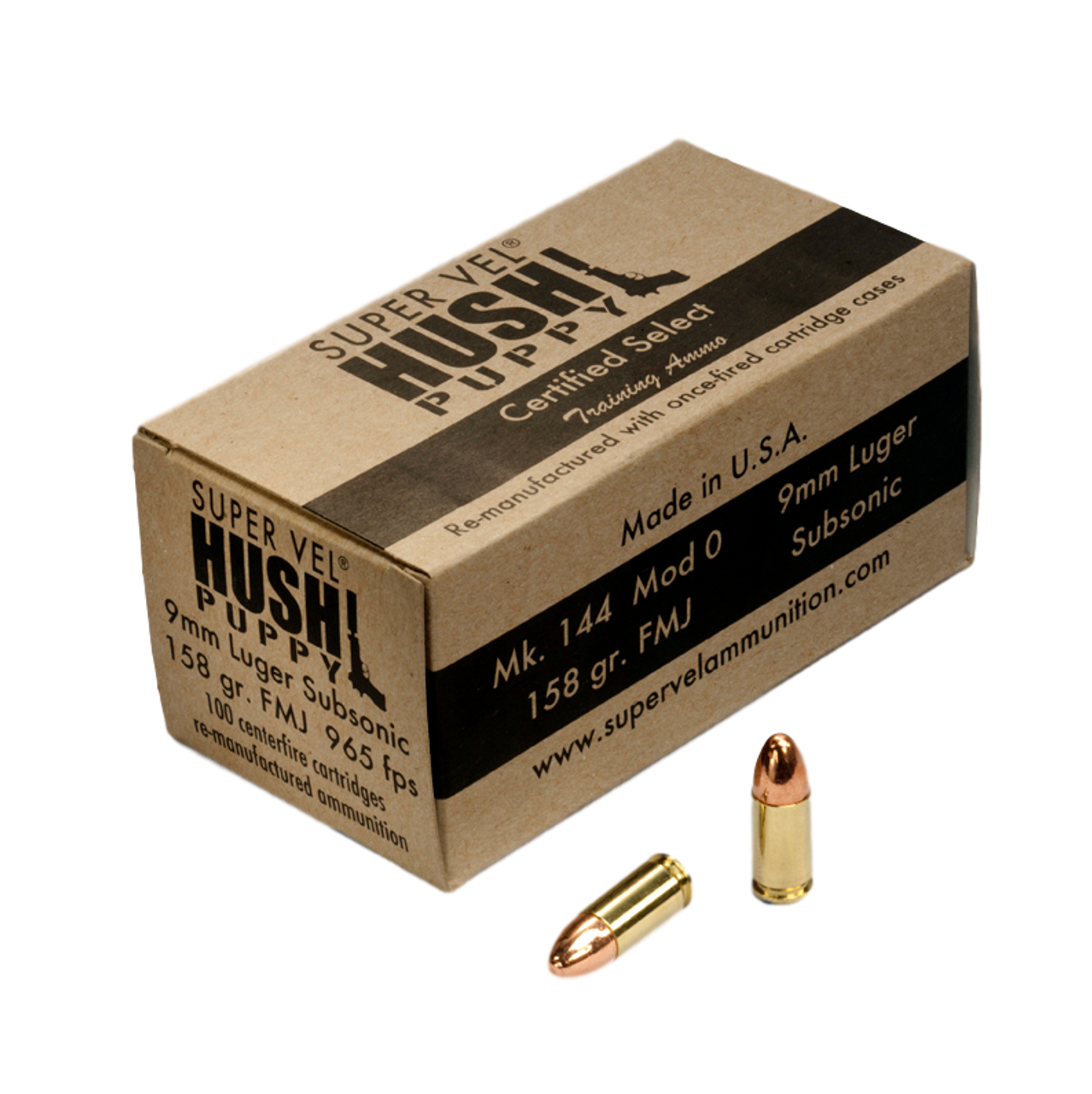 """9mm Luger """"Hush Puppy"""" 158 gr. FMJ subsonic """"Certified Select""""  (100-count box)"""