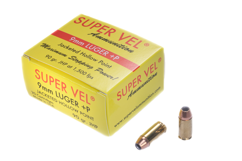 9mm Luger +P 90 gr. JHP  (20-count box)