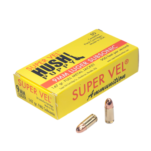 """9mm Luger Sub. 147 gr. FMJ """"Hush Puppy"""" (50-count box)"""