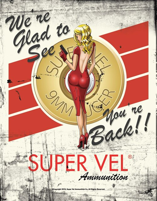 Super Vel Pin Up Girl Retro Tin Sign