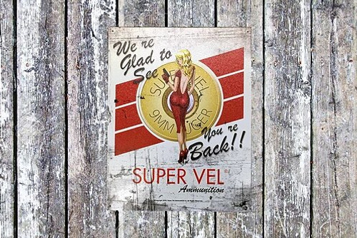 Super Vel Pin Up Girl Retro Tin Sign
