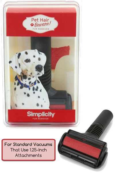 Simplicity Pet Hair Beware Fur Remover Tool for Standard Vacuums Using 1.25-Inch Attachments