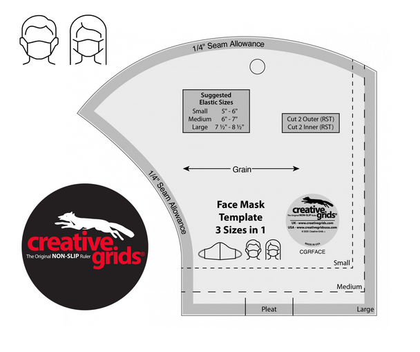 Creative Grids Non-Slip Face Mask Template 3 Sizes in 1   CGRFACE