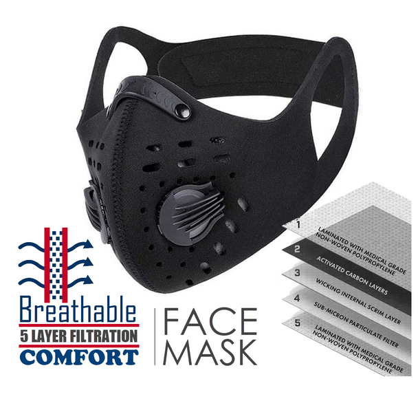 Breathable Comfort Face Mask w/ 5-Layer Filtration (Black)