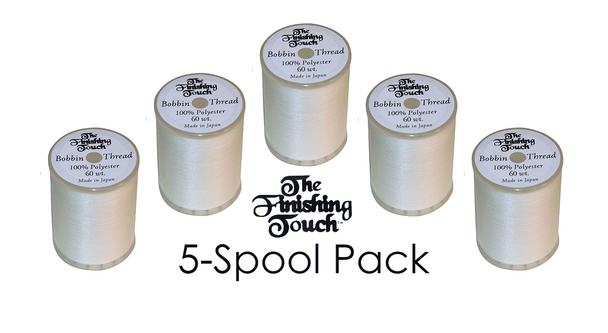 The Finishing Touch White Bobbin Thread BBT-W | 5-Spool Pack